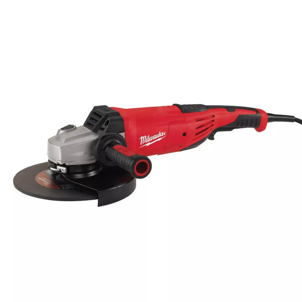 2400 W angle grinder with AVS and kickback protection
